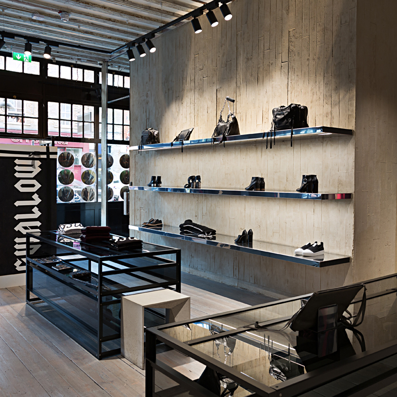 Concrete effect Clayworks clay plaster used at new Alexander Mcqueen store