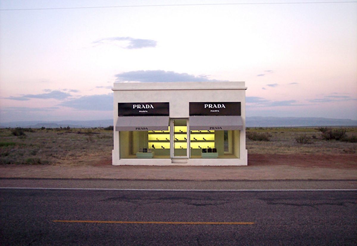Mexico border Prada boutique permanent clay based sculpture that is completely isolated from its usual urban context
