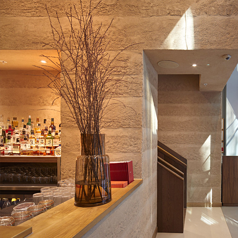 Rammed earth finishes at Sticks N Sushi