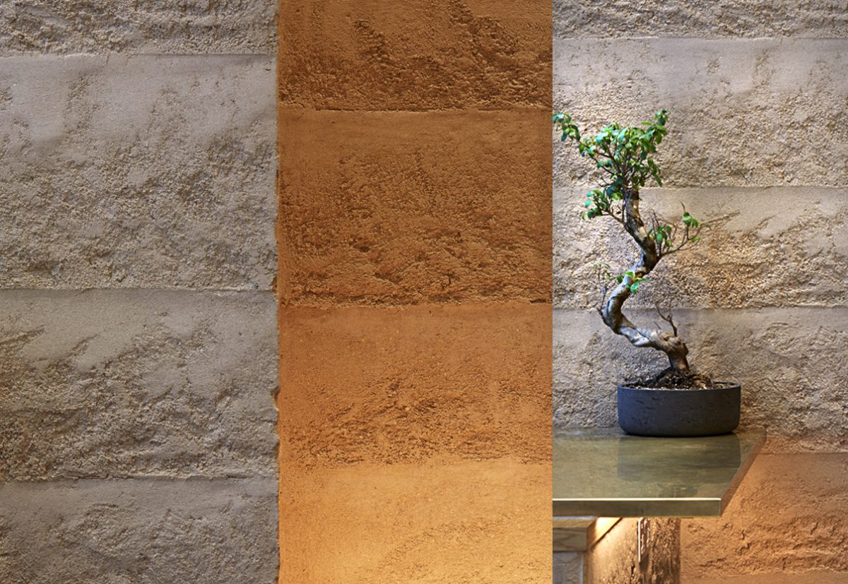 The beautiful rammed earth effect wall finish